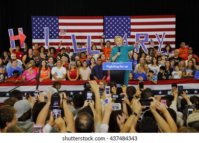 """OXNARD, CA - JUNE 04, 2016: former Secretary of State Hillary Clinton and Democratic Presidential Candidate speaks at a """"Get out the vote"""" rally at Hueneme High School in Oxnard, California."""