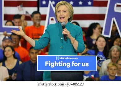 "OXNARD, CA - JUNE 04, 2016: former Secretary of State Hillary Clinton and Democratic Presidential Candidate speaks at a ""Get out the vote"" rally at Hueneme High School in Oxnard, California."