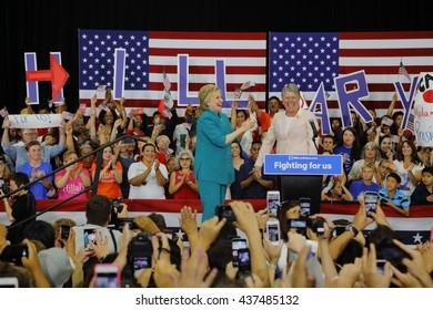 OXNARD, CA - JUNE 04, 2016: Congresswoman Julia Brownley introduces former Secretary of State Hillary Clinton and Democratic Presidential Candidate Hueneme High School in Oxnard, California.