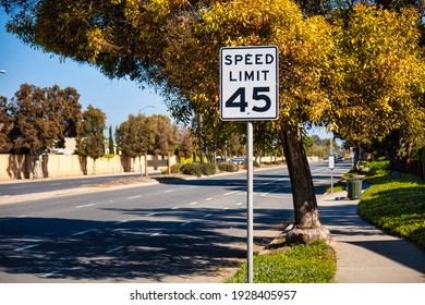 Oxnard, United States - February 20 2020 : a road sign along the road is indicating a speed limit of 45 miles an hour