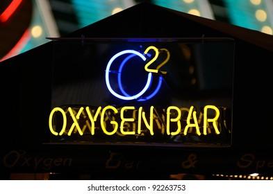 Oxygen Bar neon sign in a shopping Center