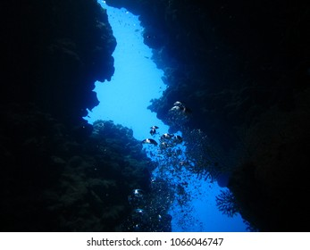 Oxygen bubbles going up to the surface in a cave in Ras Mohamed, Egypt, Red Sea