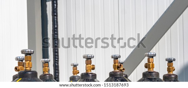 Oxygen cylinder with compressed gas, oxygen tanks for industry. Copy space