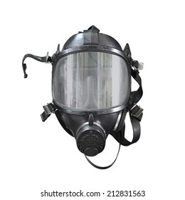 Oxygen mask , Gas mask , Firefighters mask of Firefighters in Thailand. Been through the use and very old Isolated on white background