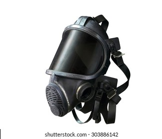 Oxygen mask , Gas mask , Firefighters mask of Firefighters in Thailand. Been through the use and very old Isolated on white background, (with clipping path)