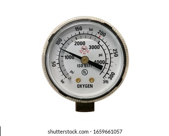 Oxygen pressure gauge isolated on a white background with clipping path,  pressure gauge on a gas regulator in a laboratory analytical equipment.