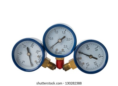 oxygen pressure gauge on white background