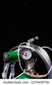 Oxygen regulator and cannula with black background
