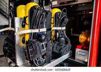 Oxygen Tanks in firefighter truck in detail
