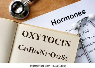 Oxytocin  word written on the book and hormones list.