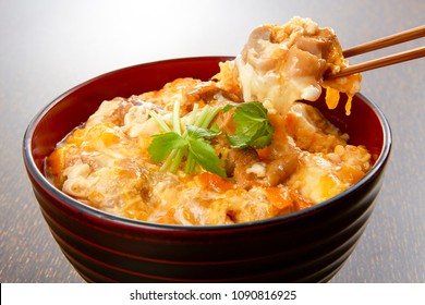 Oyakodon, bowl of rice topped with chicken and eggs