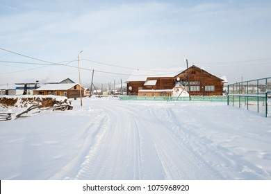 Oymyakon, Yakutia - February 05 2018: Houses in the Oymyakon village. The Oymyakon is located in the northeast of Yakutia. This is the coldest inhabited place on the planet