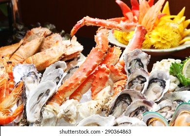Oyster and Alaska King Crab, Seafood buffet line in hotel restaurant