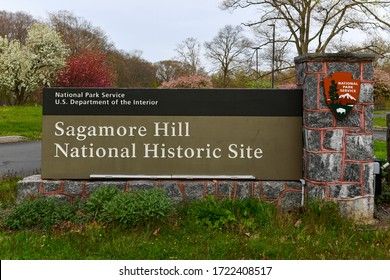 Oyster Bay, New York - Apr 25, 2020: Sign at the entrance of Sagamore Hill National Historic Site in Long Island, New York.