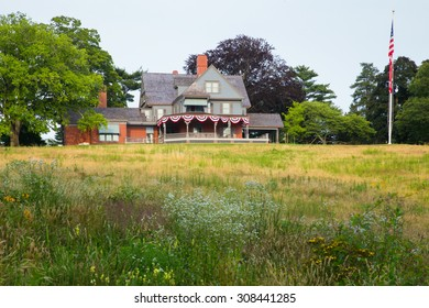 OYSTER BAY, NEW YORK - JULY 12, 2015:  View of Sagamore Hill, former home of President Theodore Roosevelt.