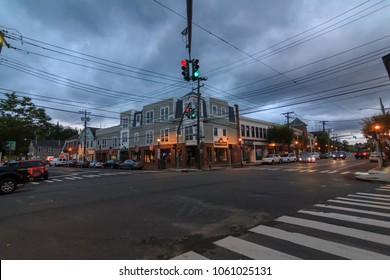OYSTER BAY, NY / USA - 9/30/2017: Street corner in Oyster Bay during the evening.