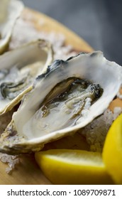 Oyster close up with lemon