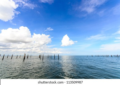 Oyster Farm in Thailand with blue clear sky and cloud
