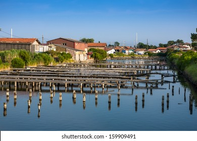 Oyster farming harbour near Arcachon, France