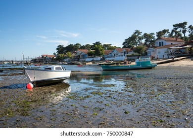 Oyster Harbor with Fishing Boats at Low Tide / Bassin Arcachon France Village of The Canon