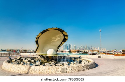 The Oyster and Pearl Fountain on Corniche Seaside Promenade in Doha, Qatar. The Middle East