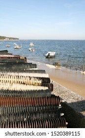 oyster plastic rubber plates at port of La Teste de buch in Bassin Arcachon France