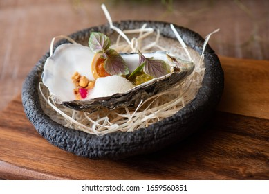 Oyster plate in a fine dineing restaurant