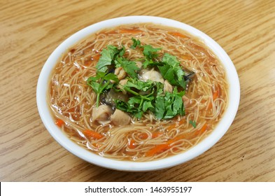 Oyster and pork intestine vermicelli is a popular food in Taiwan.