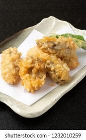 Oyster tempura  ; deep-fried Oyster