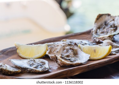 Oysters with lemon on wooden plate.