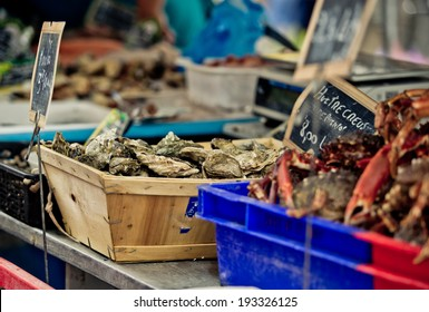 Oysters at a local Weekly Market in Brittany France
