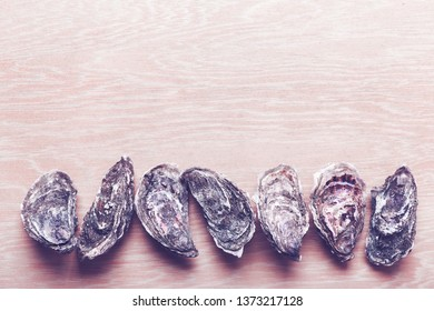 Oysters on wooden background, toned image. Shellfish contains a mass of beneficial micronutrients and vitamins that beneficially affect the entire body