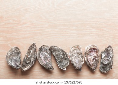 Oysters on wooden background, top view with copy space. Shellfish contains a mass of beneficial micronutrients and vitamins that beneficially affect the entire body