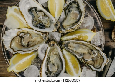 Oysters plate with ice and lemon slices on a wooden background