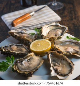 Oysters and white wine on wood background seafood, France
