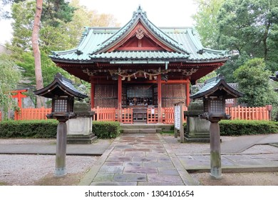 Ozaki Shrine located in Kanazawa, Japan. This photo is the main shrine building.