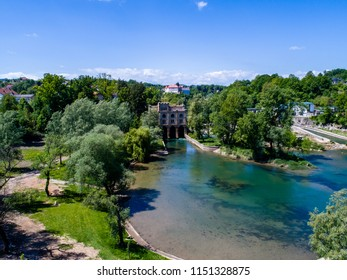 Ozalj Hydroelectric Power Plant is a hydroelectric power plant on river Kupa, in its central stretch, in town of Ozalj, Karlovac County, Croatia. Drone aerial photo.