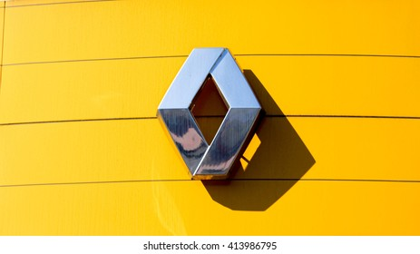 OZOIR LA FERRIERE, FRANCE - APRIL 30, 2016: Renault sign in Ozoir la Ferriere, France. Renault is a French car manufacturer.