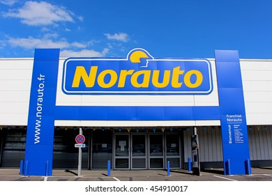 OZOIR LA FERRIERE, FRANCE - JULY 17, 2016: Norauto is a French group specializing in automotive fast repair, maintenance and automotive equipment.
