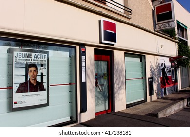 OZOIR LA FERRIERE, FRANCE - MAY 7, 2016: Societe Generale bank. Societe Generale is one of the main French banks and one of the oldest.