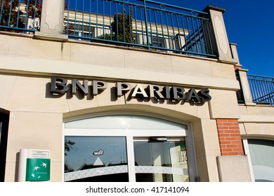 OZOIR LA FERRIERE, FRANCE - MAY 7, 2016: Front of the bank BNP Paribas. BNP Paribas is a French bank, born May 23, 2000 from the merger of Banque Nationale de Paris and Paribas.