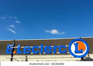 OZOIR LA FERRIERE, FRANCE - SEPTEMBER 27, 2015: Logo of Lelcerc brand in Ozoir la Ferrièe, France. Leclerc is a large retail chain in food predominance of French origin.
