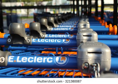 OZOIR LA FERRIERE, FRANCE - SEPTEMBER 27, 2015: Cart oh the Leclerc brand in Roissy en Brie, France. Leclerc is a large retail chain in food predominance of French origin.