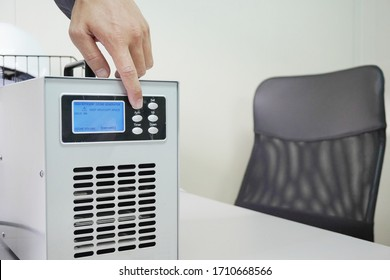 Ozone generators placed on the table in office room to cleaning and disinfection during corona-virus epidemic. (Covid 19) - Shutterstock ID 1710668566
