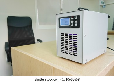 Ozone generators placed on the table in office room to cleaning and disinfection during corona-virus epidemic. (Covid 19)