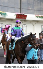OZONE PARK - APR 4: Quantifier with Eric Lopez Aboard Leaves the Paddock for the Second Race at Aqueduct Race Track- April 4, 2008 in Ozone Park, NY.