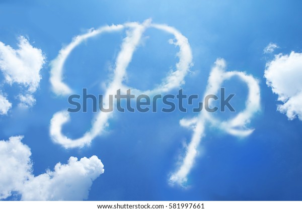 P clouds font calligraphy style ,hand written on sky background.