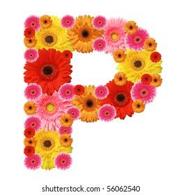 P, flower alphabet isolated on white