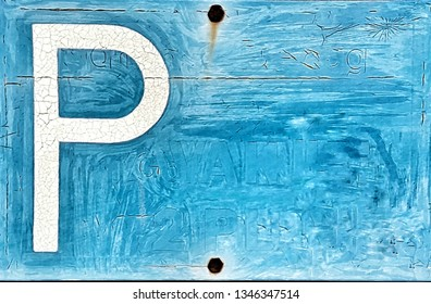 P for Parking. Blue grungy sign close up. Background with space for text.