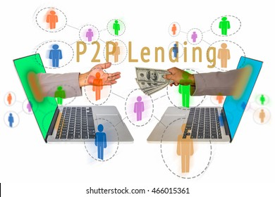 P2P Payment concept image. Social network with P2P lending message on side view of laptop with hand coming out from screen for receiving money form the other laptop with hand sending the money.